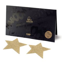 Пэстис - стикини Bijoux Indiscrets - Flash Star Gold, наклейки на соски