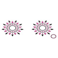 Пэстис из кристаллов Petits Joujoux Gloria set of 2 - Black/Pink, украшение на грудь